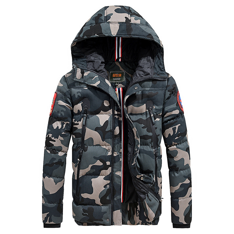 Casual Camouflage Men's Winter Jacket Thick Warm Male Coat Camo Hooded Cotton Windproof   Parka   Military Mens Overcoat