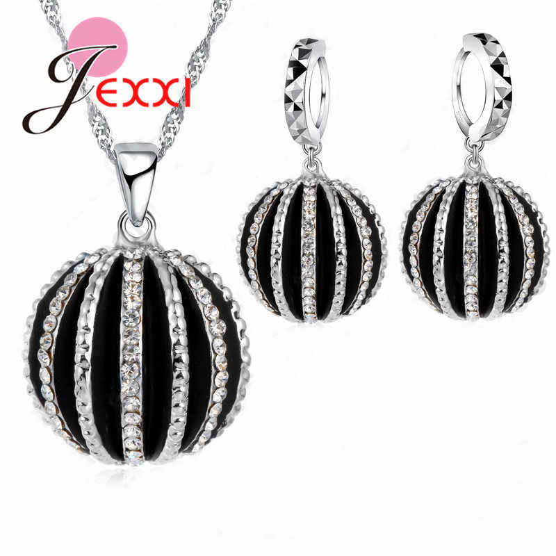 New Cubic Zircon Crystal Jewelry Sets Pendants & Necklaces Dangle Earring 925 Sterling Silver Chain For Women