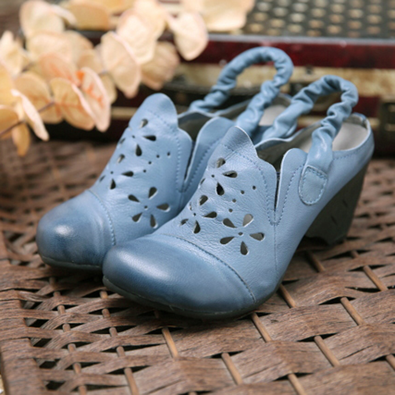 Tayunxing handmade shoes genuine leather sheep skin hollow women sandals back strap elastic band comfort retro med heel 201-10