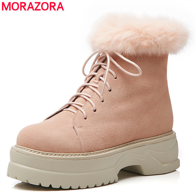 MORAZORA 2020 הגעה חדשה אמיתי עור קרסול מגפי תחרה עד פלטפורמת נעלי אופנה חורף מגפי להתחמם שלג מגפי נשים