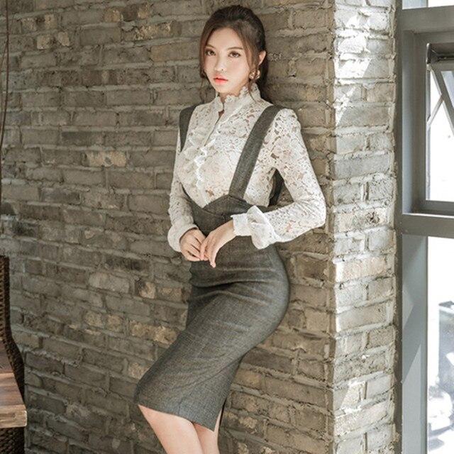 73b53a69c36 ZAWFL 2 Pieces Set Womens Lace Dresses Elegant Party Evening Sheath  Vestidos Autumn Winter Korean OL Pencil Bodycon Suit
