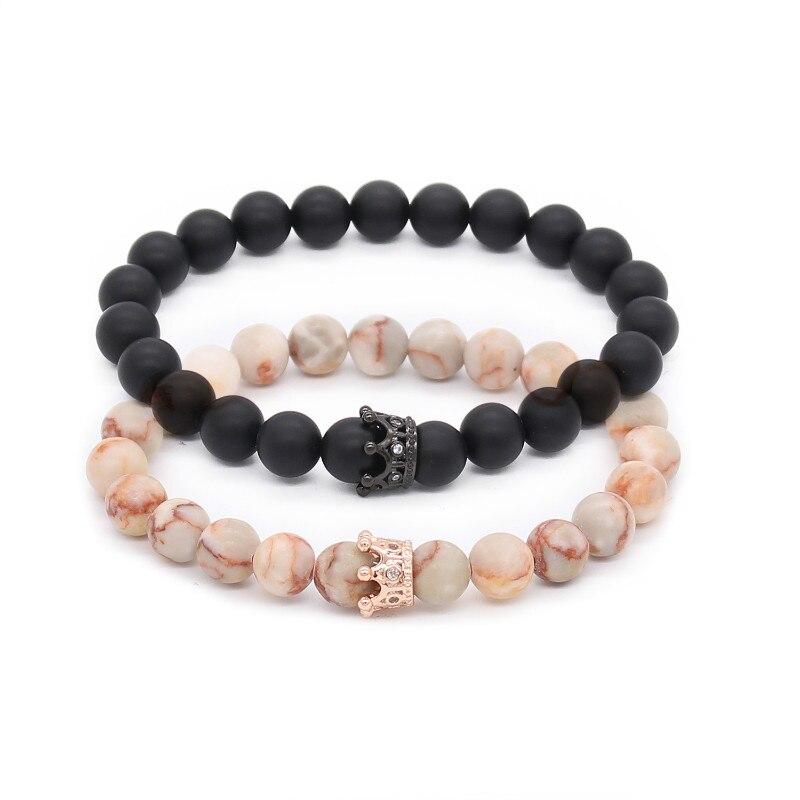 Poshfeel Casal Dele E Dela Pulseiras Distância Matte Black & White Beads Cz Coroa Rei Charme Pulseira Pedra Amantes Mbr170369