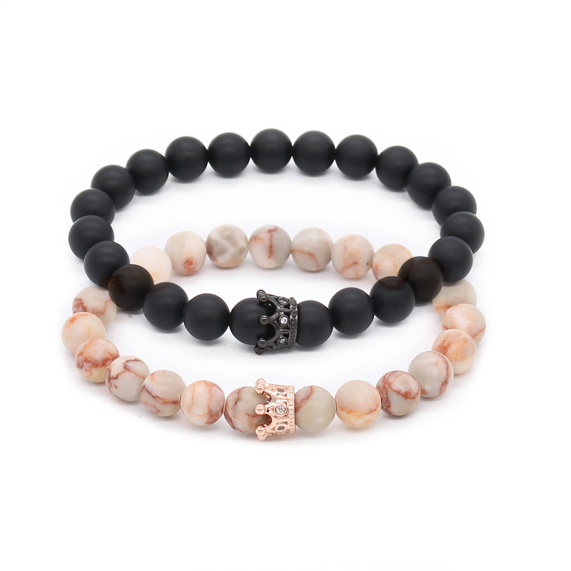 Poshfeel Couple His And Hers Bracelets Distance Black Matte & White Beads Cz Crown King Charm Stone Bracelet Lovers Mbr170369
