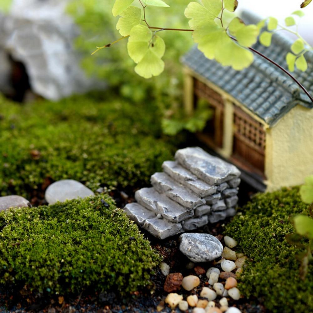 2pcs Mini Simulated Wood Chair Ornament Resin Craft Micro Landscape Home Decor