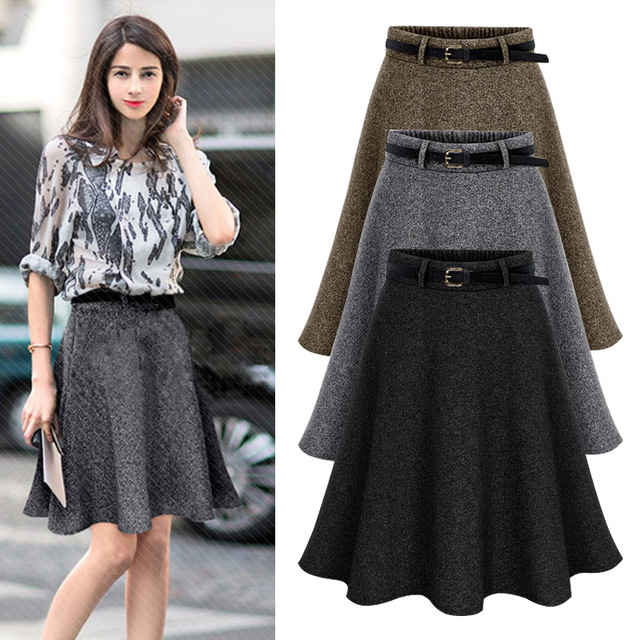 9d1b699bc22 2018 New Autumn Winter Women Skirt Plus Size M 6XL Woolen Skirts Ldaies  Pleated Midi Skirt Saia Fashion Wrap Skirts Faldas-in Skirts from Women s  Clothing ...
