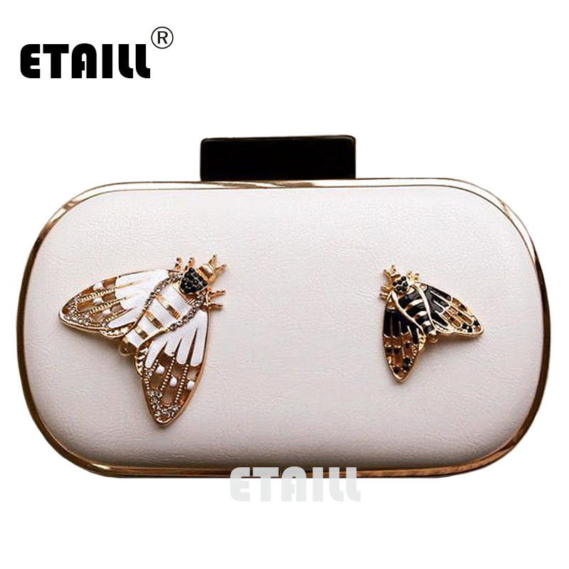 ETAILL Fashion Bee White Luxury Designer Brand Evening Bag Box Clutch Purse Frame with Chain Party Clutches Wallet Hand Bags