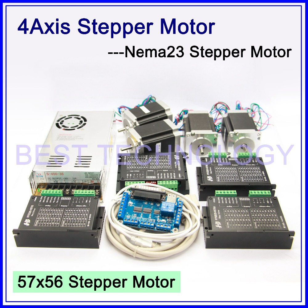 4Axis CNC controller kit  4PCS Nema23 CNC stepper motor  57x76mm + stepping Motor Driver 4A,42V + power supply + breakout board 3axis cnc controller kit 3pcs nema23 cnc stepper motor 57x76mm stepping motor driver 4a 42v power supply breakout board
