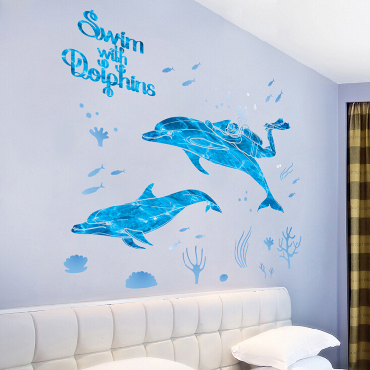 Attractive Diving And Dolphins Wall Stickers Home Decor Living Room Bedroom Bathroom  Art Decals Wallpaper Removable In Wall Stickers From Home U0026 Garden On ...