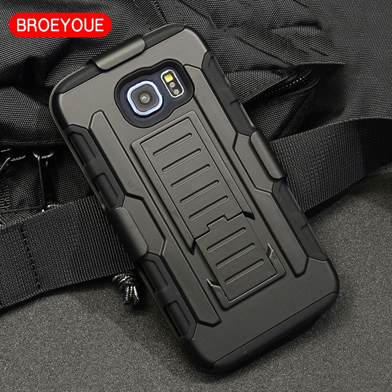 BROEYOUE Case Cover For Samsung Galaxy S6 Cases Impact Hybrid Stand Protective Rugged Holster Back Cover Coque Bag Fundas Capa