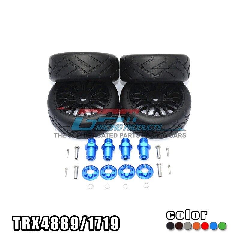 цена на Free shipping TRAXXAS TRX-4 TRX4 82056-4 Alloy 17x9 hex adapter + high speed ground flat hot melt tire - set TRX4889/1719
