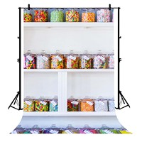 5x7ft Candy Jars Shop White Display Sweet Lo Polyester Photo Background Portrait Backdrop