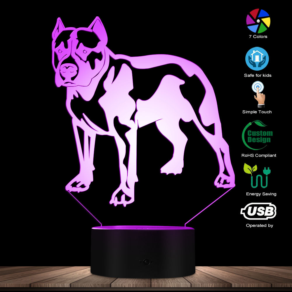 Cute PitBull Terrier 3D Optical Illusion Night Light Custom Pet Portraits Name Bedroom Table Lamp Dog Lovers Companion Dog Gift