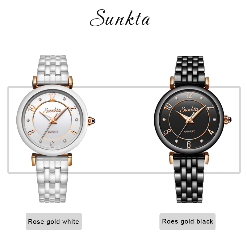 SUNKTA Ceramic Diamond Quartz Watch Rose Gold Women Watches Waterproof Top Brand Luxury Watch Women Dress Clock Relogio Feminino