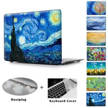 Print Noche Estrellada Caso De Aire 11 12 13 Pro 13 15 Claro Como el cristal Protector Duro de La Cubierta Para MacBook Pro 13 15 con Retina cubierta