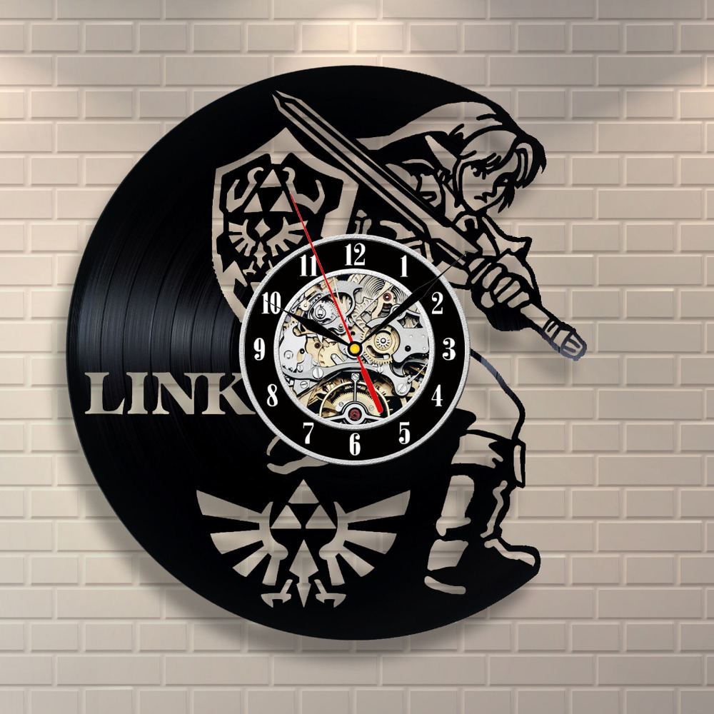 New art cd vinyl record wall clock saat legend of zelda for Arts and crafts clocks for sale
