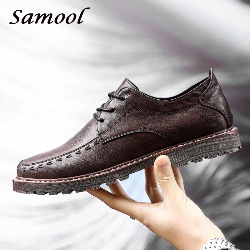 2018 våren Menn Business Brand leiligheter Casual Shoes Lace Up Male - Herresko