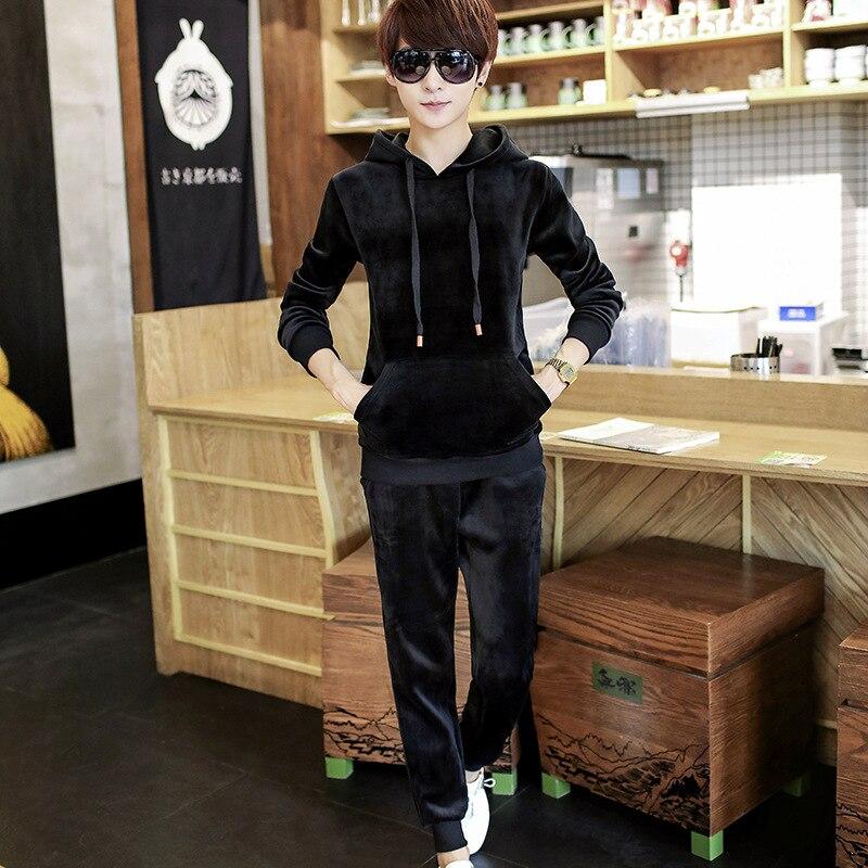 Sportswear Men 2018 Autumn O-neck Fashion Mens Set Velvet Tracksuit Hoodies Sweatshirt+Pants Casual Mens Set Two Piece Set