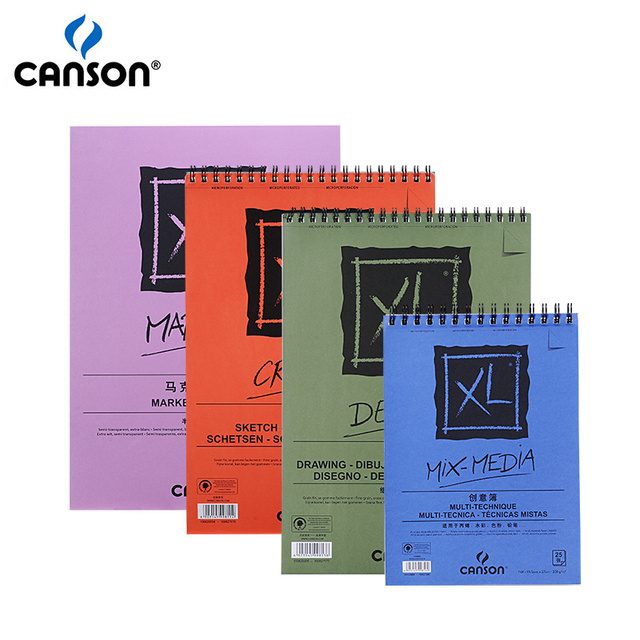 Canson XL Mix Media/Marker/Sketch/Dessin Pads Side Wire Notebooks For Acrylic Painting Watercolor Pencils Water-soluble Markers