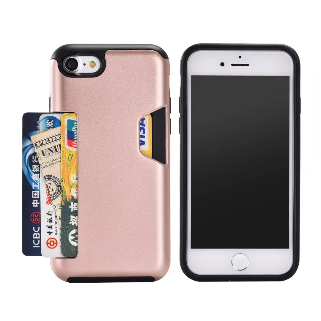 ID Credit Card Holder Back Cover for Apple iPhone 8 8plus Dual Layer Hybrid Armor Silico ...