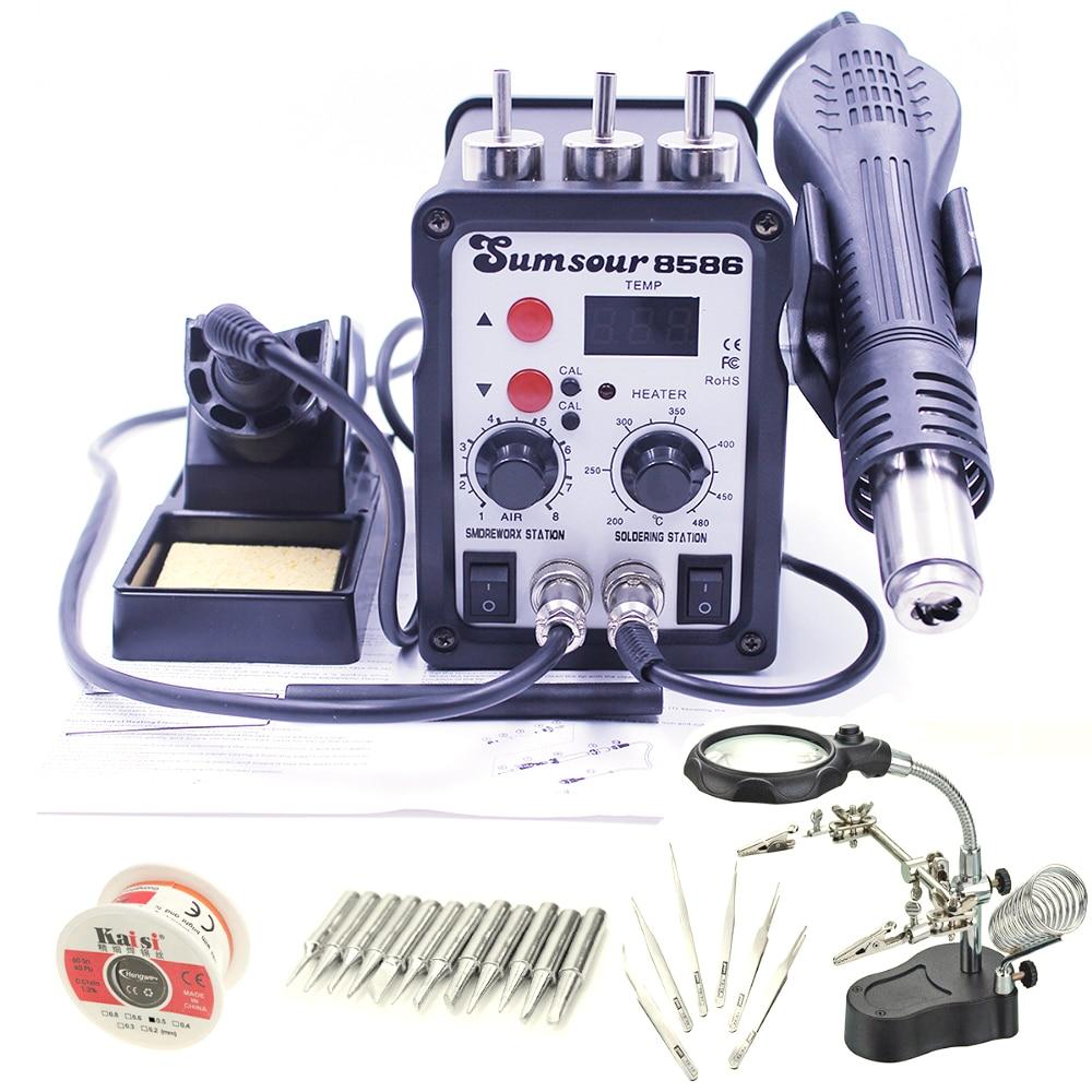 8586 110V 220V 700W 2 W 1 SMD Rework stacja lutownicza Hot wiatrówka lutownica naprawa spawalnicza maszyna z darmowe upominki lupa|soldering iron welding|iron weldinggun soldering - AliExpress