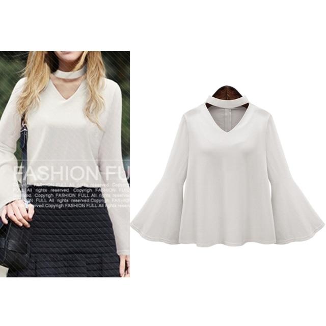 b345f14ca09 2018 Spring Womens Plunge V Neck Collar Choker Flare Bell Bottom Sleeve Blouse  Tops Shirt
