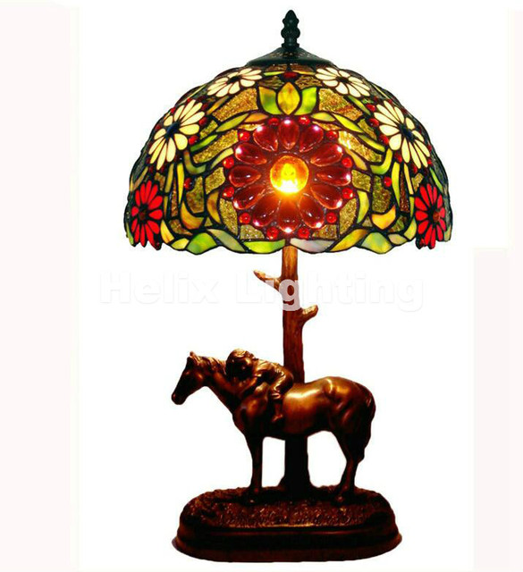 New Arrival Tiffany Table Lamps D31cm H52cm Luxurious Ancient Garden E27  Bedside Lamps Living Room Decoration