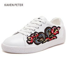 2017 fashion white girls sneaker Genuine leather flora embroidery women casual Shoes Female casual shoes boys Sports Shoes 5-8