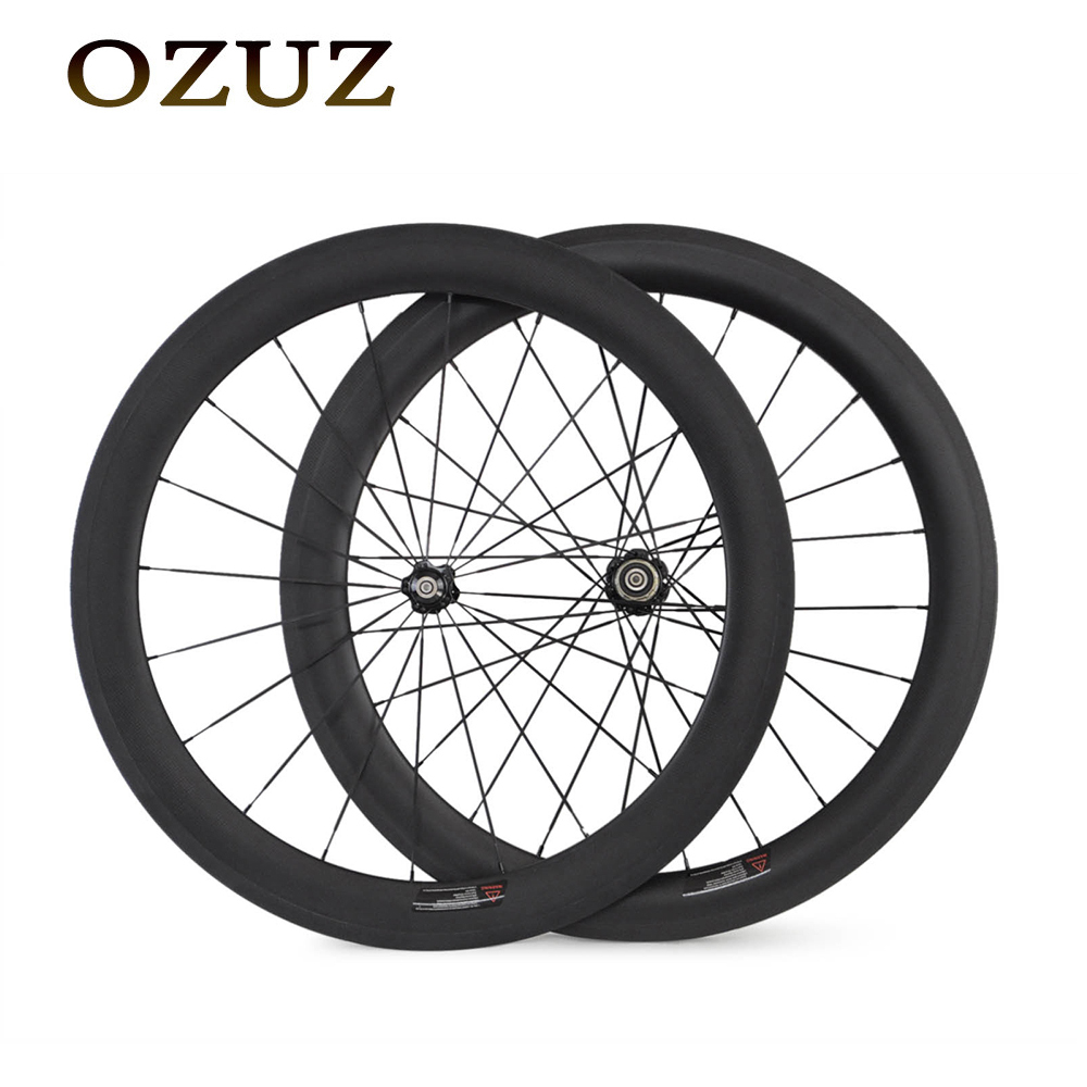 Free custom Fee 700C 60mm Clincher Tubular Carbon Wheels Road Bicycle Bike Racing Wheelset 23mm Width carbon fiber bicycle wheel velosa supreme 50 bike carbon wheelset 60mm clincher tubular light weight 700c road bike wheel 1380g