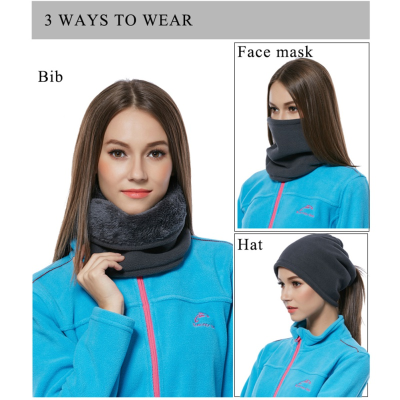 Outdoor Fleece Bib Double Warm Collar Men Women 3 In 1 Ways Multi-function Wig Scarf Sports Windproof Cap Hiking Climbing Must Pure Whiteness