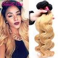 Mel loira onda do corpo do cabelo Ombre duas cores 1b/27 brasileira ombre feixes de cabelo virgem 4 pcs onda do corpo loira cabelo brasileiro tecer