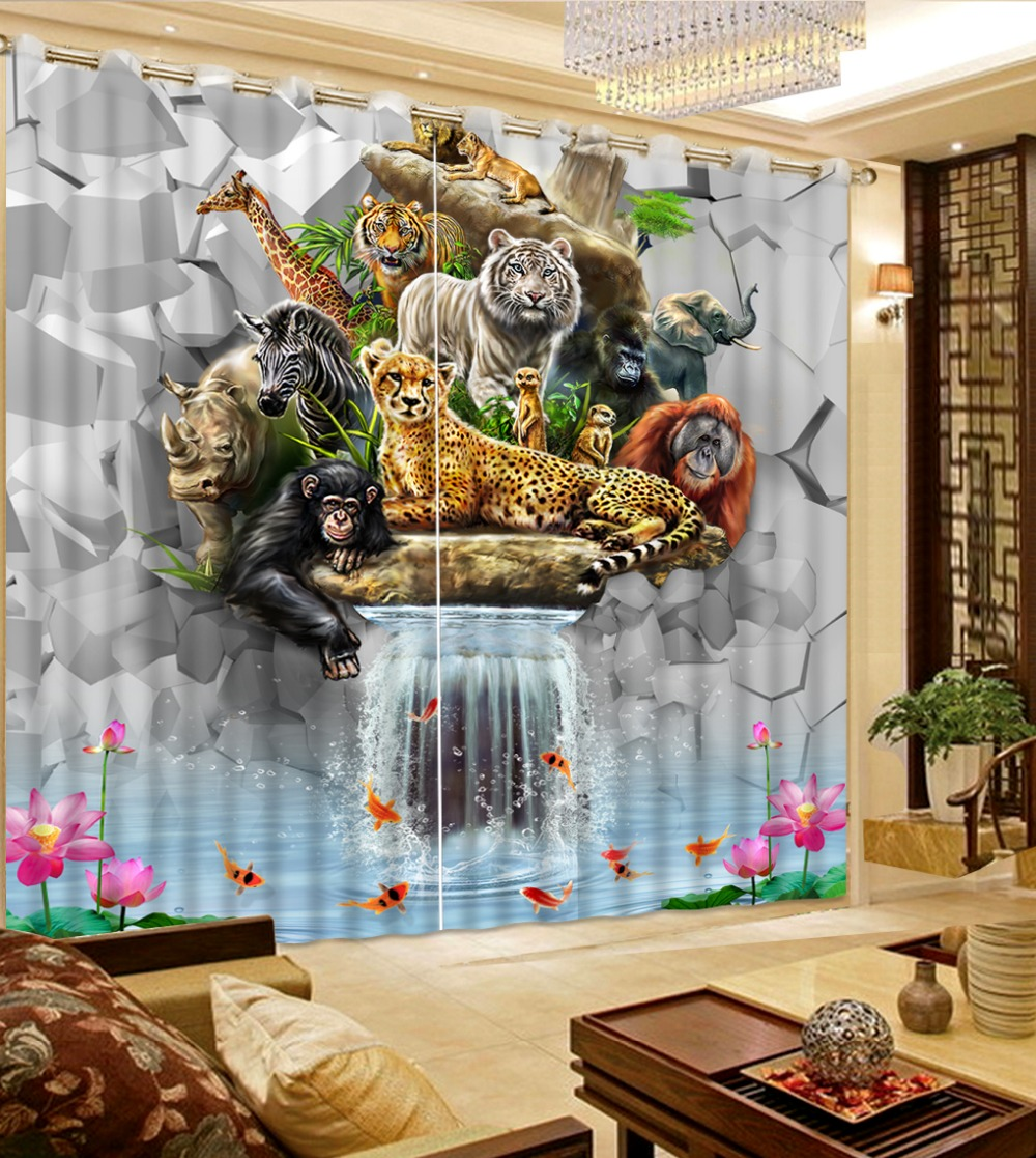 3d curtains custom curtains modern home decor Tiger Lion Orangutan Zebra pattern decoration curtains for living room 3d