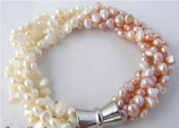 Beautiful 5strands 8 5mm White Pink Baroque Freshwater Pearl Bracelet