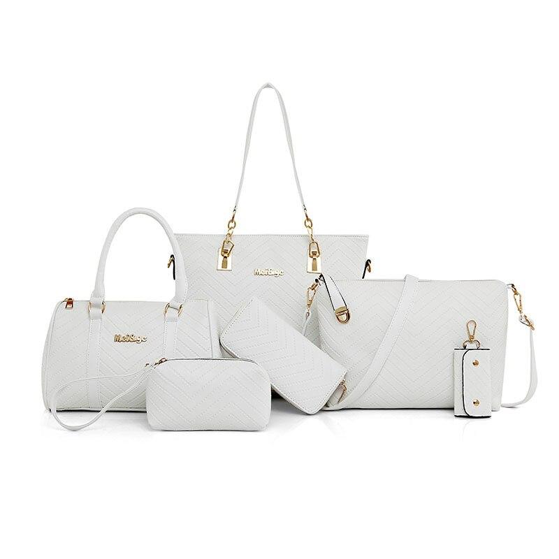 NEW Brand Luxury Lady Handbag 6 Pcs/set Composite Bags Set Women Shoulder Crossbody Bag Female Purse Clutch Wallet