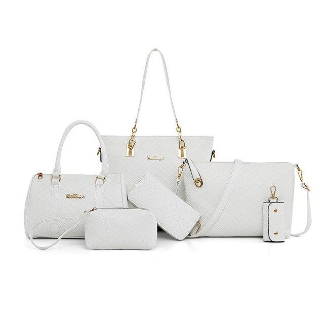 5bdddf85c5 NEW Brand Luxury Lady Handbag 6 Pcs set Composite Bags Set Women Shoulder  Crossbody Bag
