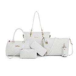 NOVA Marca De Luxo Bolsa Da Senhora 6 pçs/set Compostas Sacos Definir Mulheres Crossbody Ombro Saco de Embreagem Bolsa Feminina Carteira