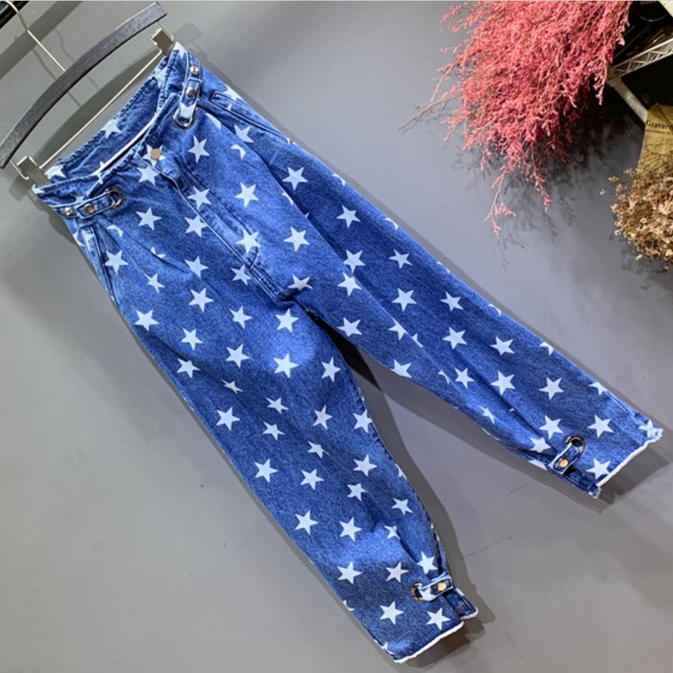 Primavera Plus ¡tamaño Nueva Vaqueros 31 Rectos Suelta 26 Dark Impreso 2019 Cintura Mujer De Estrellas Blue Moda Alta SH6qSr