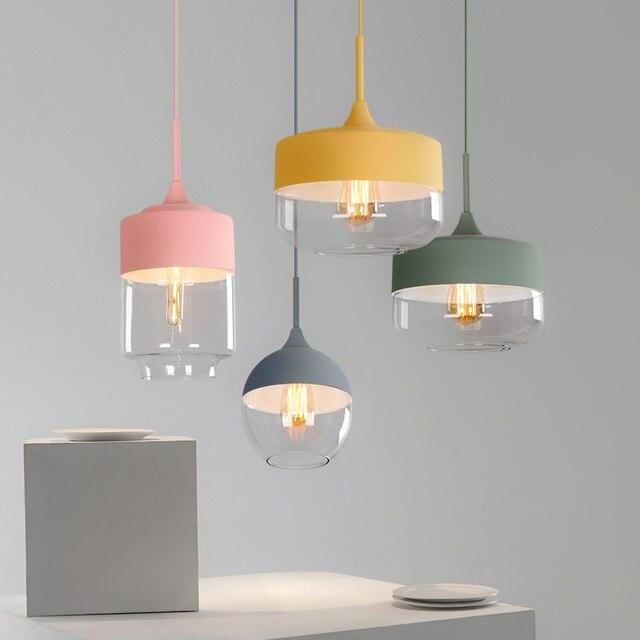 الشمال ما بعد الحداثة قلادة أضواء الإبداعية شخصية LED ماكارونس مقهى مطعم شريط المنزل الإضاءة الملونة شنقا مصباح