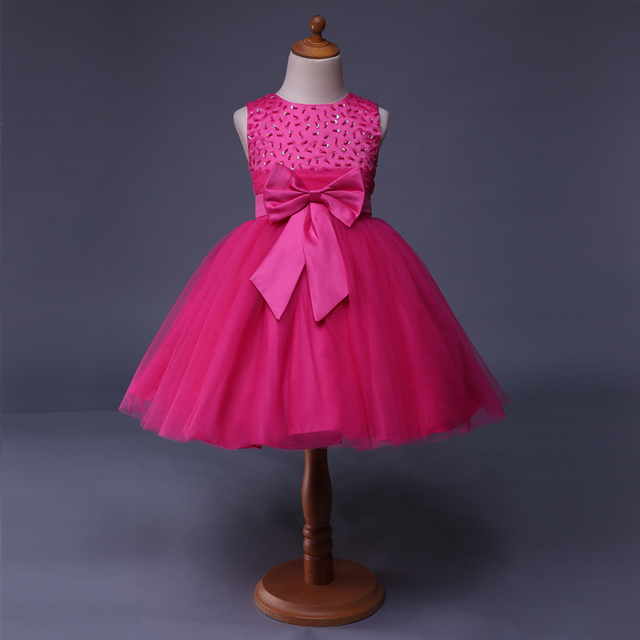 Cutestyles 2018 Baby Girl Party Dress Princess prom Hot Pink Flower ...