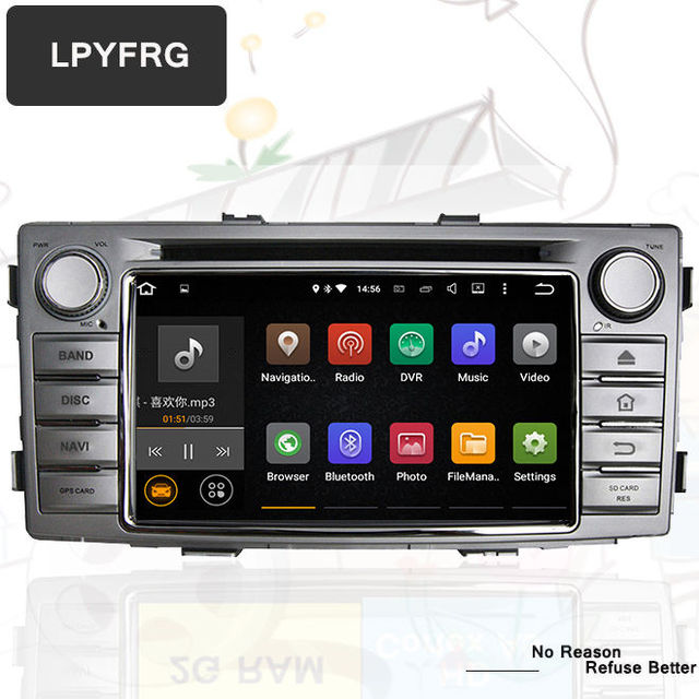US $275 48 5% OFF Android 8 0 Car DVD Player Bluetooth Audio Video stereo  GPS Navigation For Toyota Hilux 2012 2013 2014 Support Radio dab System-in
