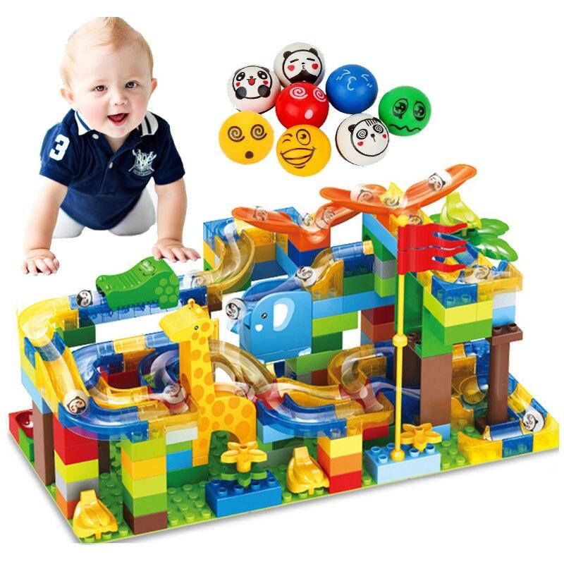 168 pièces marbre course course labyrinthe balles Jungle piste grande taille blocs de construction éducatifs briques coulissantes Duploe jouets enfant cadeaux