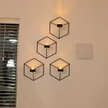 Candelabro geométrico 3D soporte de vela de pared de Metal candelabro de estilo nórdico hogar dormitorio restaurante decoración única elegante