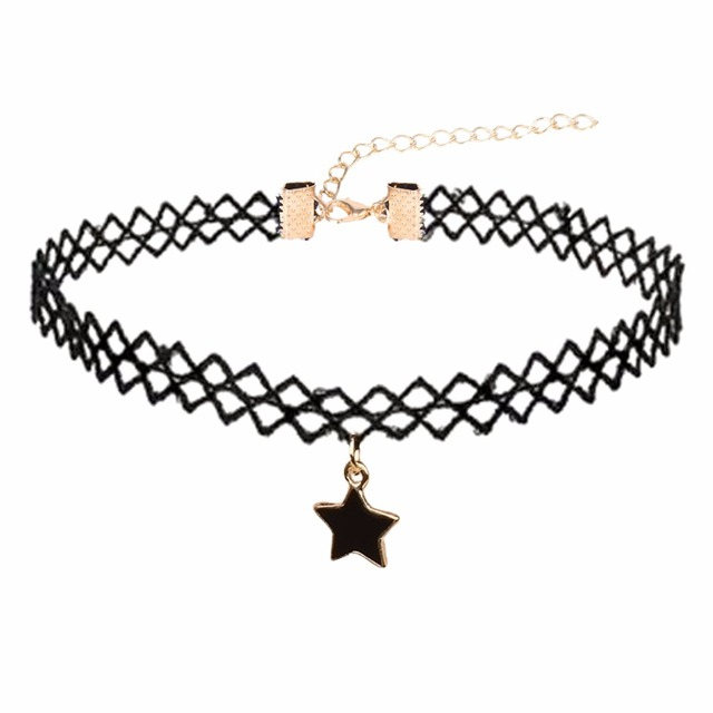 Simple Design Star Velvet Lace Choker NecklacePendants Gothic Tattoo Adjustable Girl Party Jewerly N3344