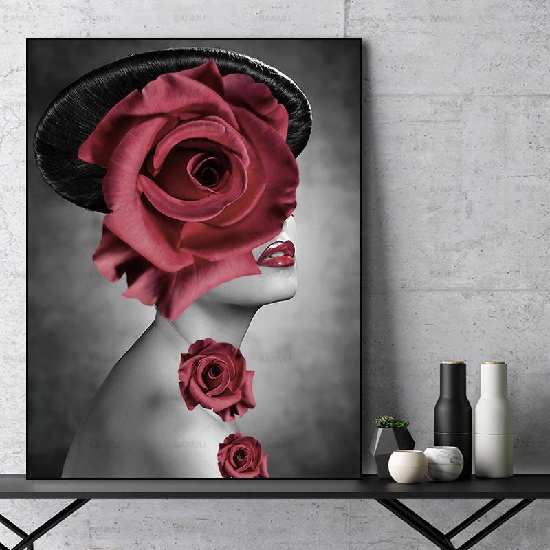red rose lady girl with tophat
