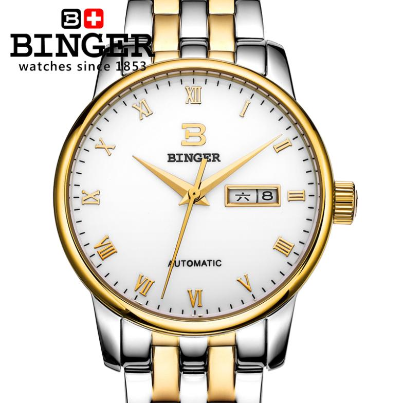 Switzerland Watches Men luxury brand 18K gold Wristwatches BINGER Mechanical Men's Watch full stainless steel Clock BG-0399-3 tevise fashion mechanical watches stainless steel band wristwatches men luxury brand watch waterproof gold silver man clock gift