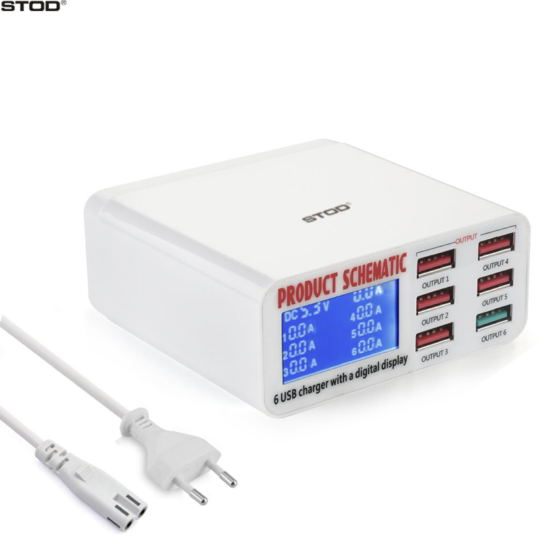 STOD 6 Port USB Charger 40W LCD Display Pengisian Cepat 3.0 Desktop Pengisian Untuk iPhone iPad DV MP3 Samsung Huawei AC Power Adapter