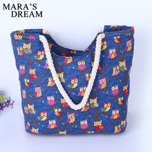 Mara's Dream 2017 Cartoon Owl Printed Shoulder Bag Women Large Capacity Female Shopping Bag Canvas Handbag Summer Beach Bag Lady