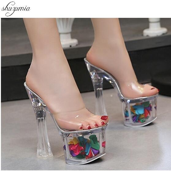 Women Slippers Summer 2018 Sexy Crystal Slipper Heels 17cm Transparent Sandals Cool Slippers Big yards Female's Wedding Shoe 2017 han edition of the new fashion women s shoes big yards high heels crystal cool slippers 15cm