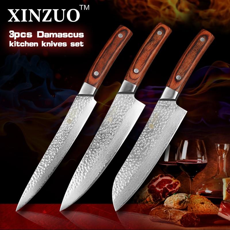 XINZUO 3 pcs Kitchen font b knives b font set Japanese Damascus kitchen font b knife