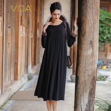VOA Silk Female Dress 2017 New O-Neck Full Embroidered Wrinkle Large Swing-Type Loose Ankle-Length Black Vestido A7521