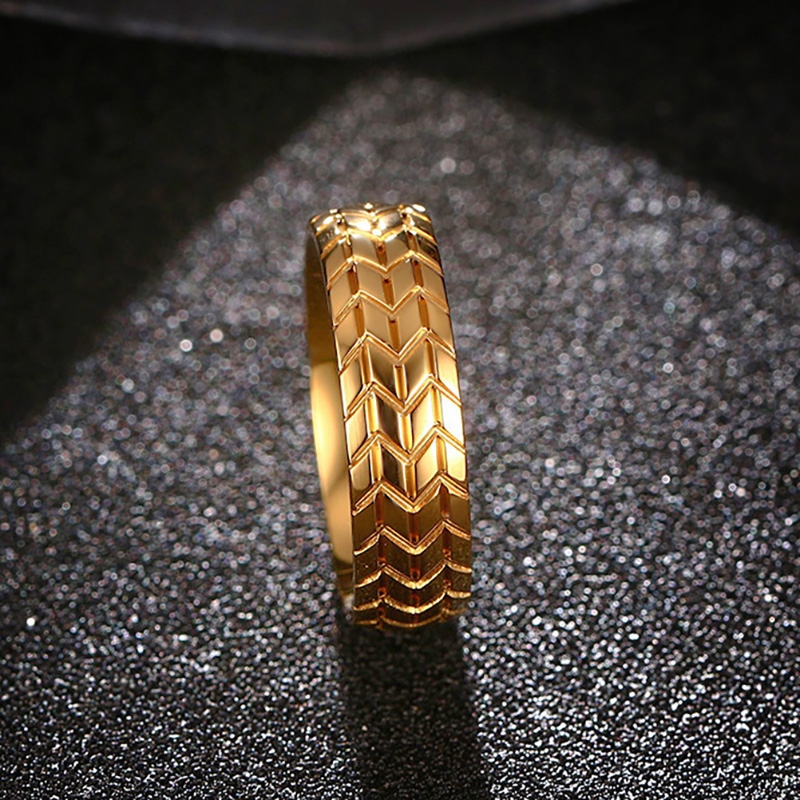 GOLDAYS 6MM Classic Stainless Steel Tire Tread Rings For Men Gold Color Wedding Band Car Fans Love In From Jewelry Accessories On Aliexpress